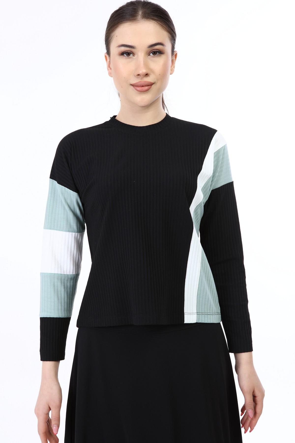 בגדי בית ליידיס - H003 עליונית פסים טורקיז-לבן קולקציית 2021.
