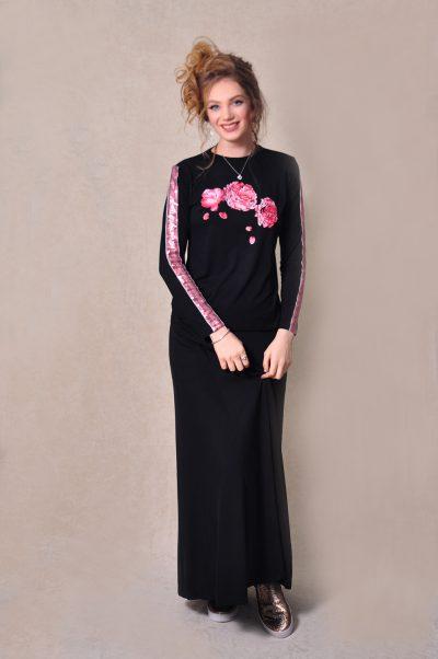 בגדי בית ליידיס - עליונית פרח מודפס עם פס פייטים בשרוול מקולקציית 2020