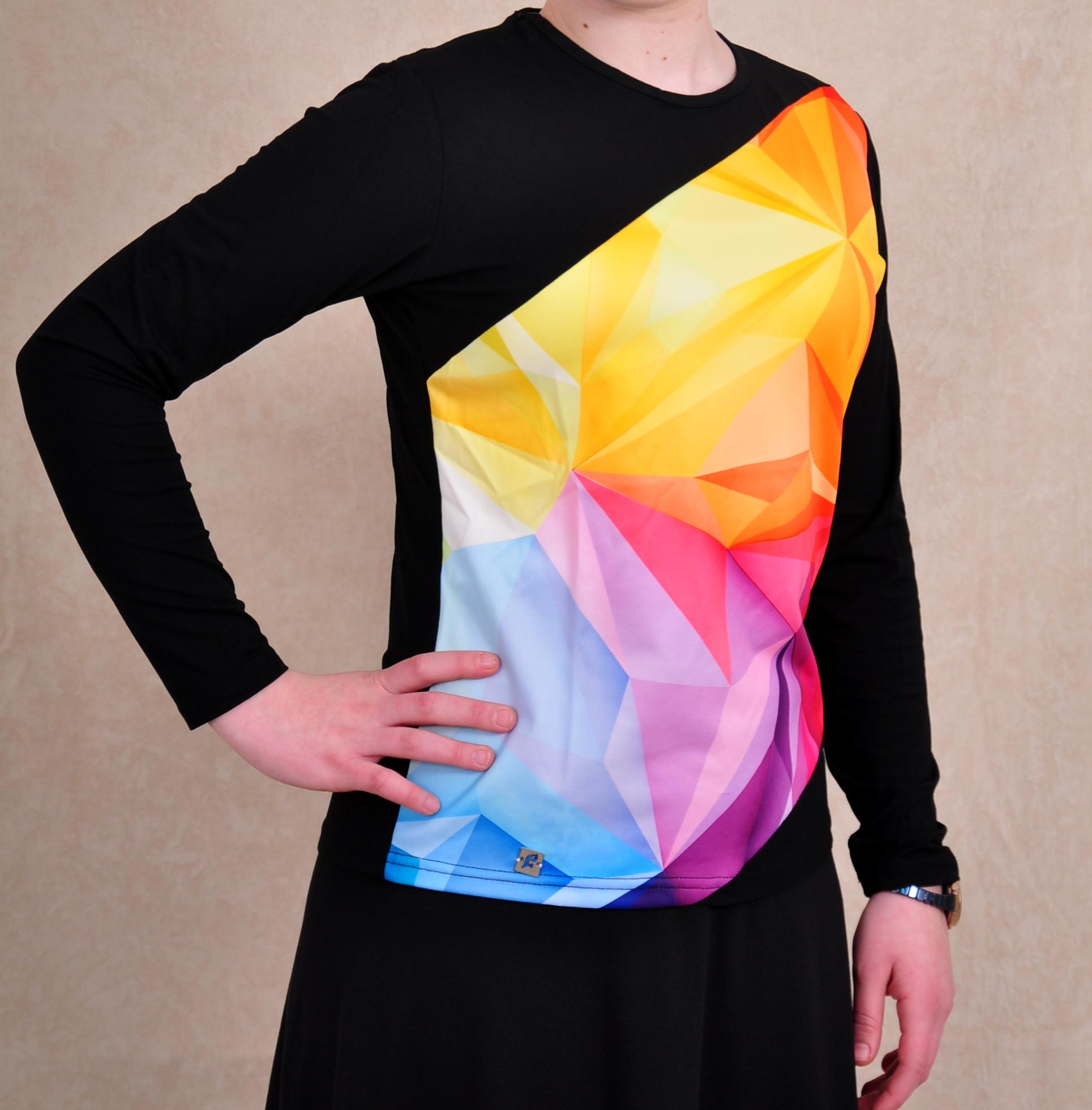 חולצת בית תלת ממד צבעוני חתוך אלכסוני