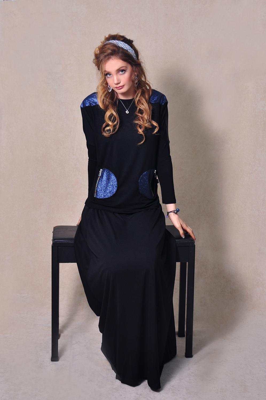 LA308-1: עליונית עם חצאי עיגול כחול מקולקציית 2020 של בגדי הבית ליידיס
