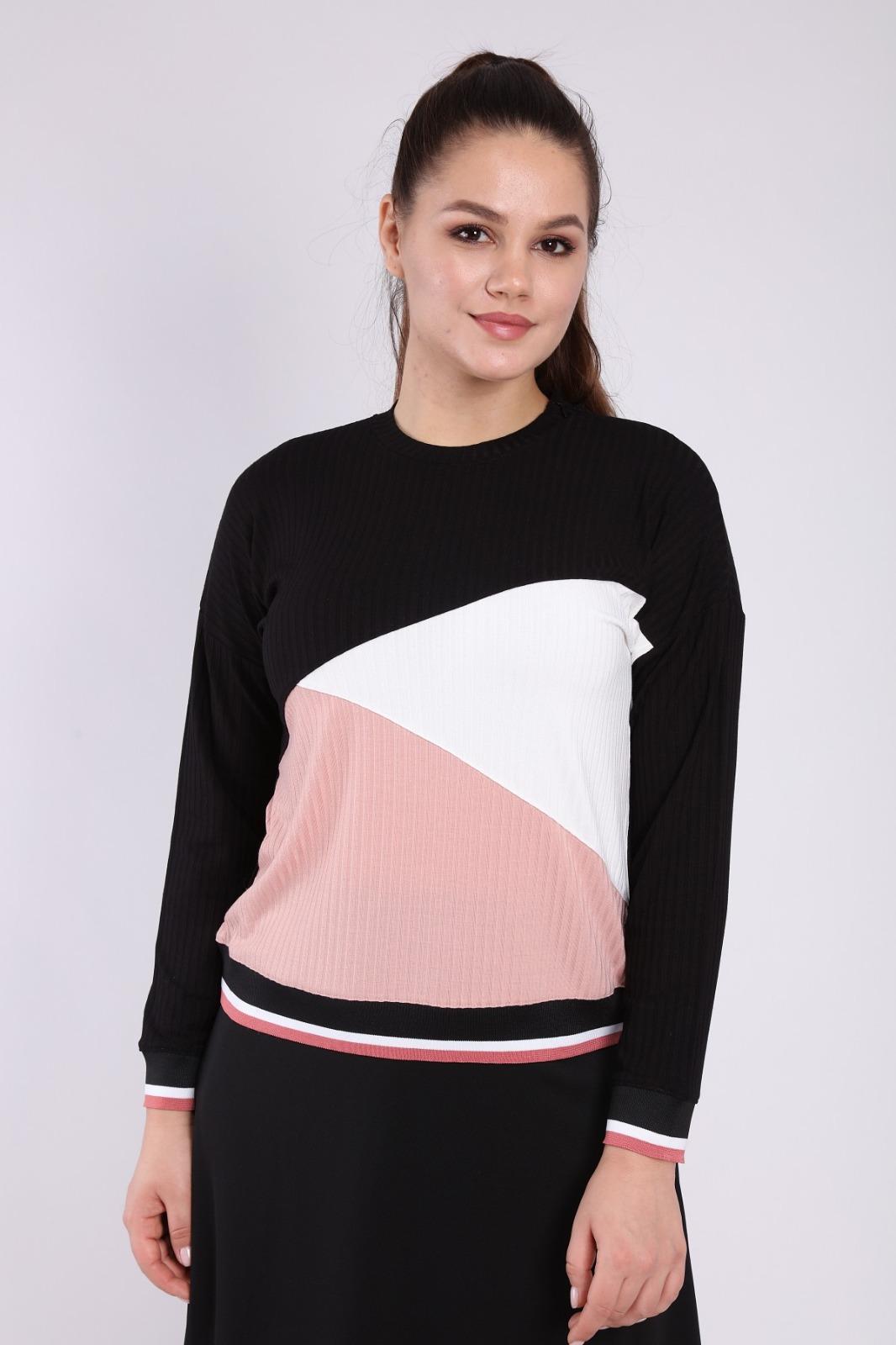 בגדי בית ליידיס - עליונית משולשים שחור-ורוד-לבן קולקציית 2021 דגם H004