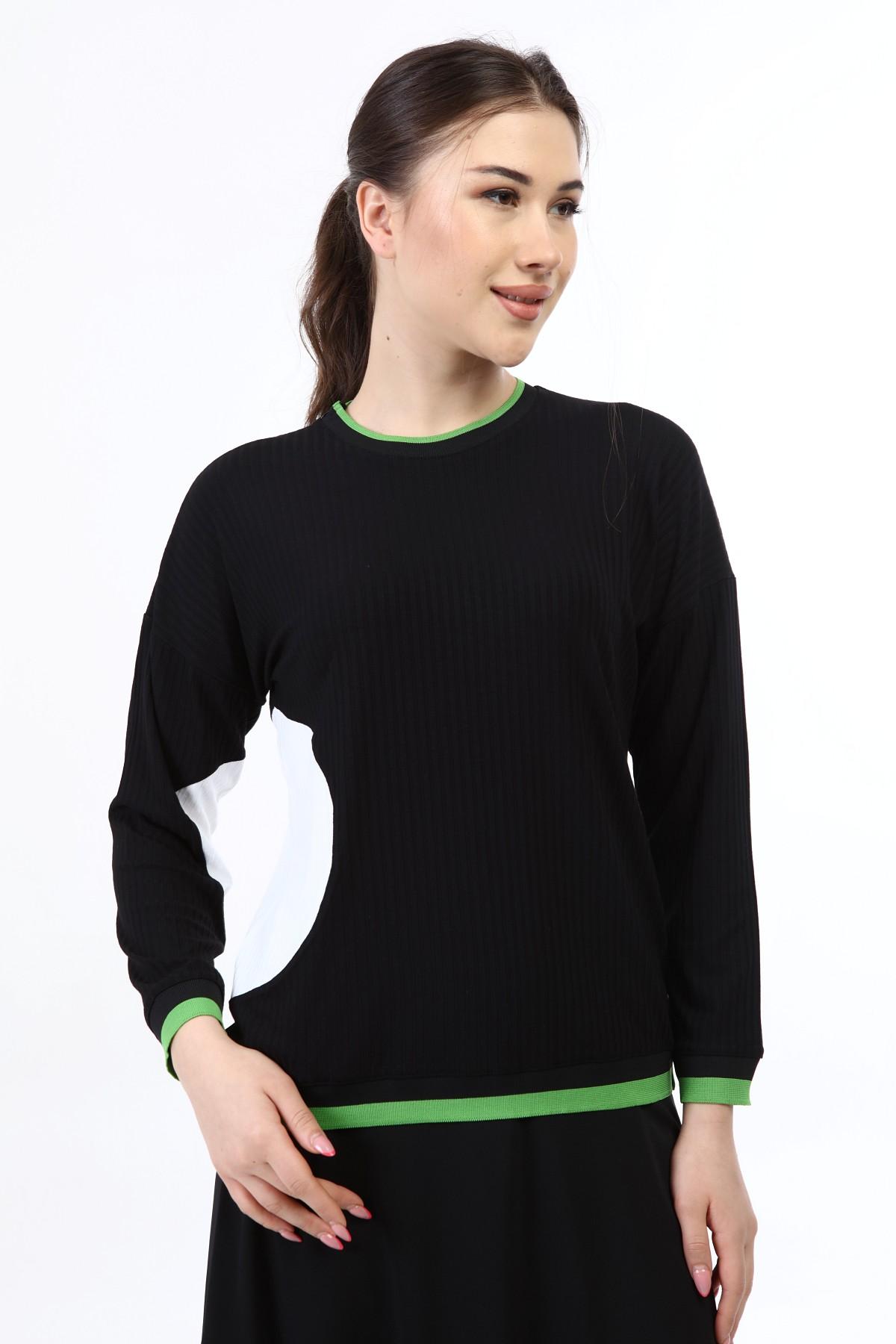 בגדי בית ליידיס - עליונית שחור עם עיגול לבן קולקציית 2021 דגם H01
