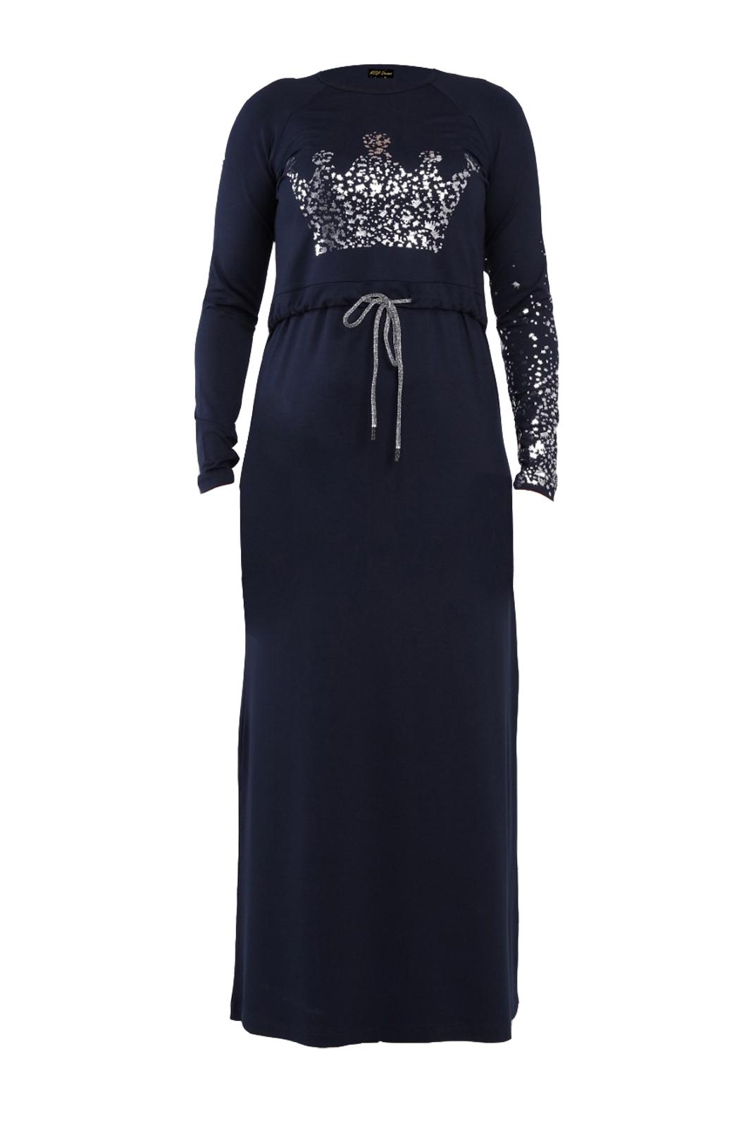 כותנות לילה צנועות להנקה מבית ליידיס בגדי בית - דגם T14 מבד כחול בדוגמת כתר ניצוצות.